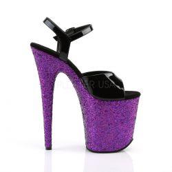 Sandalias de plataforma extra-alta recubiertas de purpurina holográfica