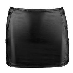 Mini falda ceñida en tejido efecto cuero combinada com malla y hebillas