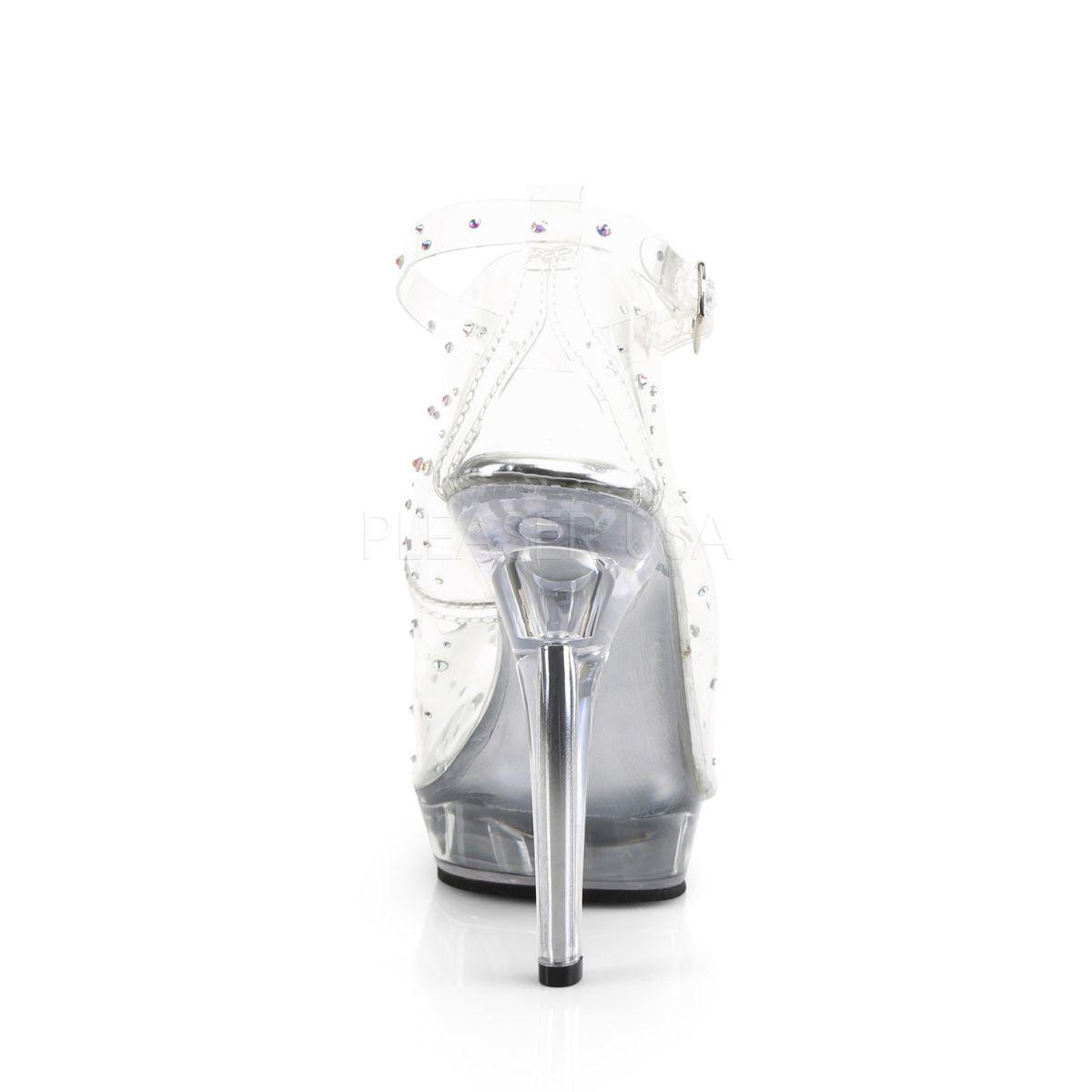 Zapatos efecto cristal con correa y decorados con pedrería brillante