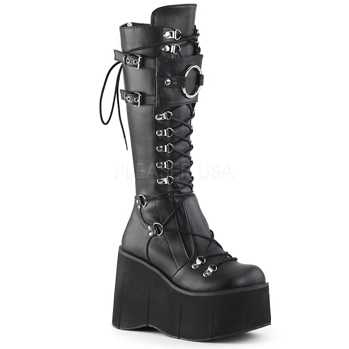 Botas DEMONIA estilo gótico punk de plataforma acordonadas con argollas