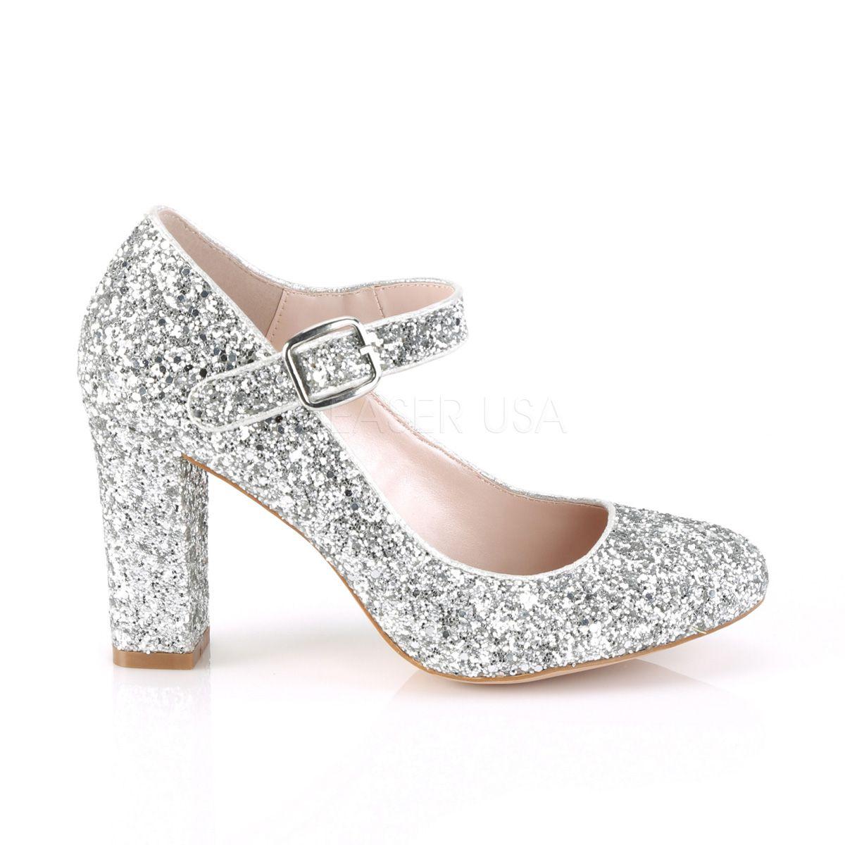 Zapatos estilo clásico Mary Jane recubiertos de glitter y tacón grueso