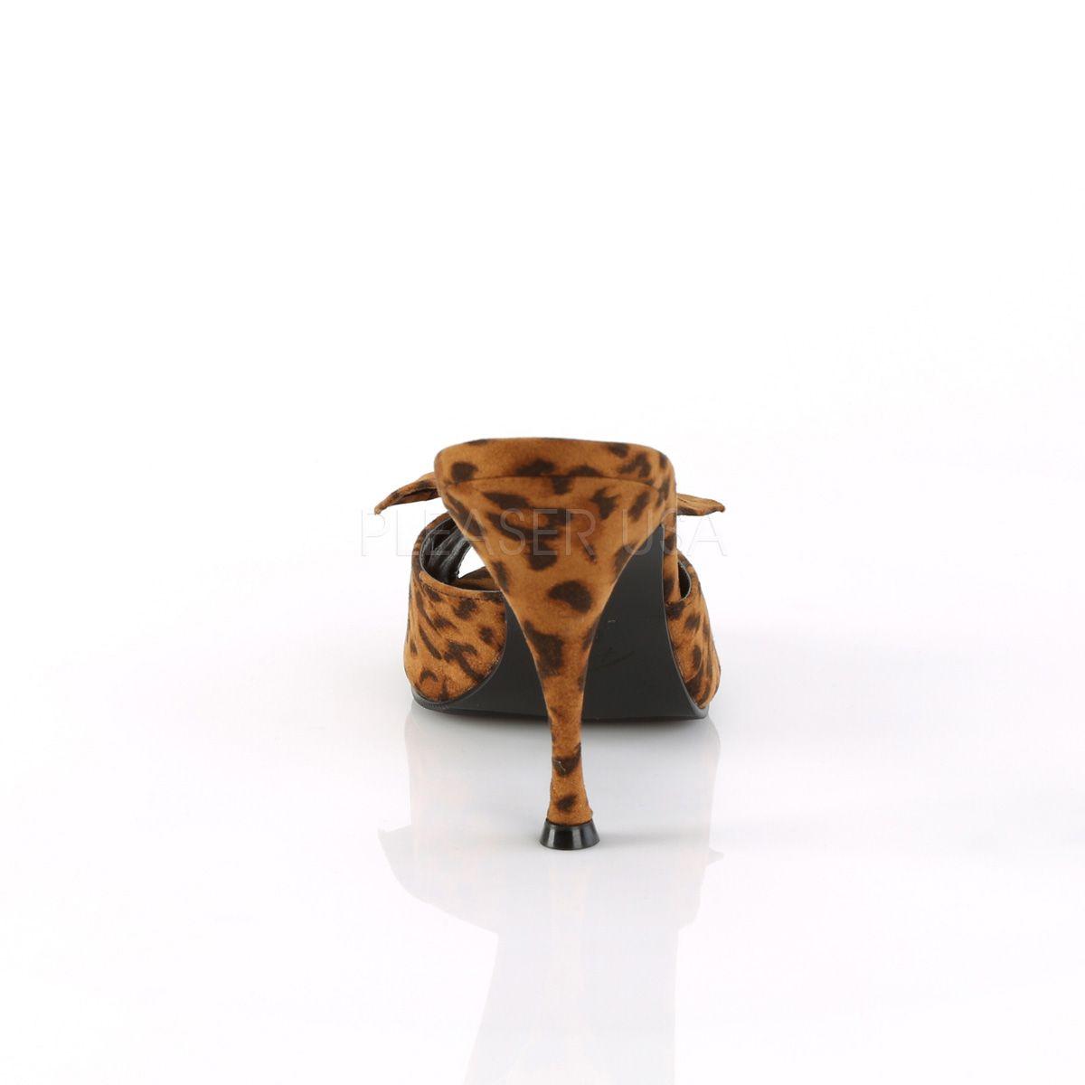 Zuecos colección Pin Up tacón fino y estampado leopardo. Lazo al frente