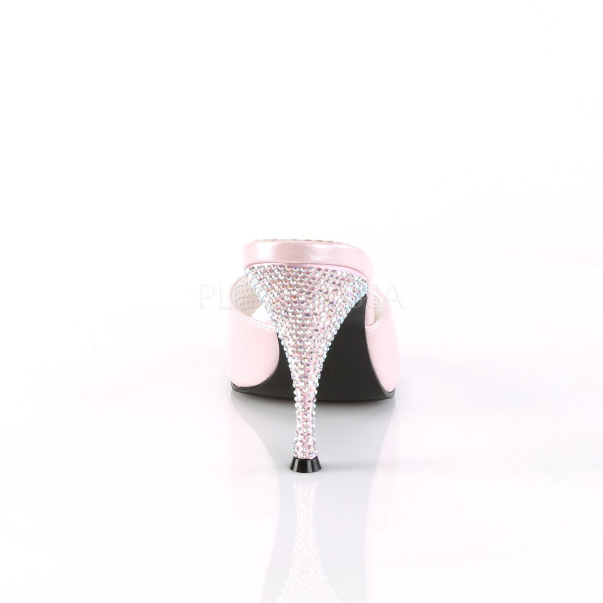 Zuecos colección Pin Up de polipiel con tacón cubierto pedrería brillante