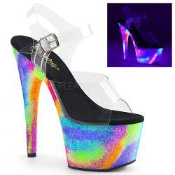 Sandalias PLEASER para Exotic Pole con purpurina neón efecto galaxia