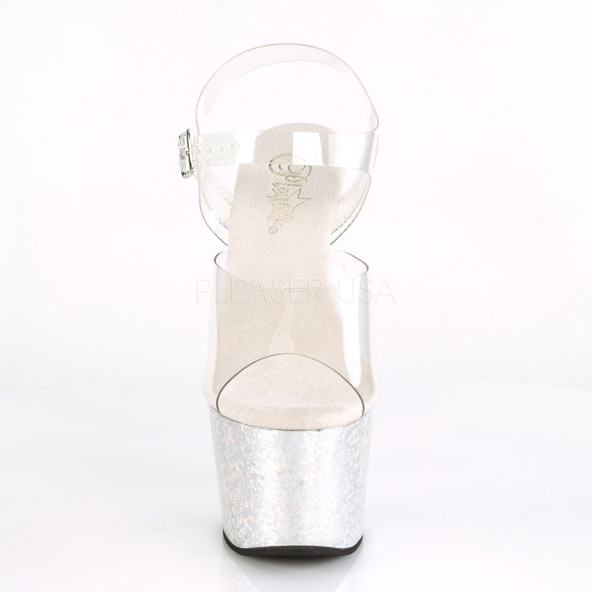 Sandalias PLEASER para Exotic Pole con pequeñas esferas efecto holograma