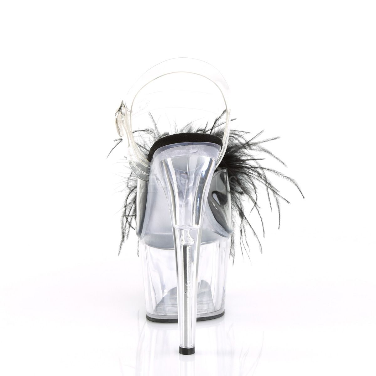 Sandalias de Plataforma Transparente con Plumas de Marabou y Perlas