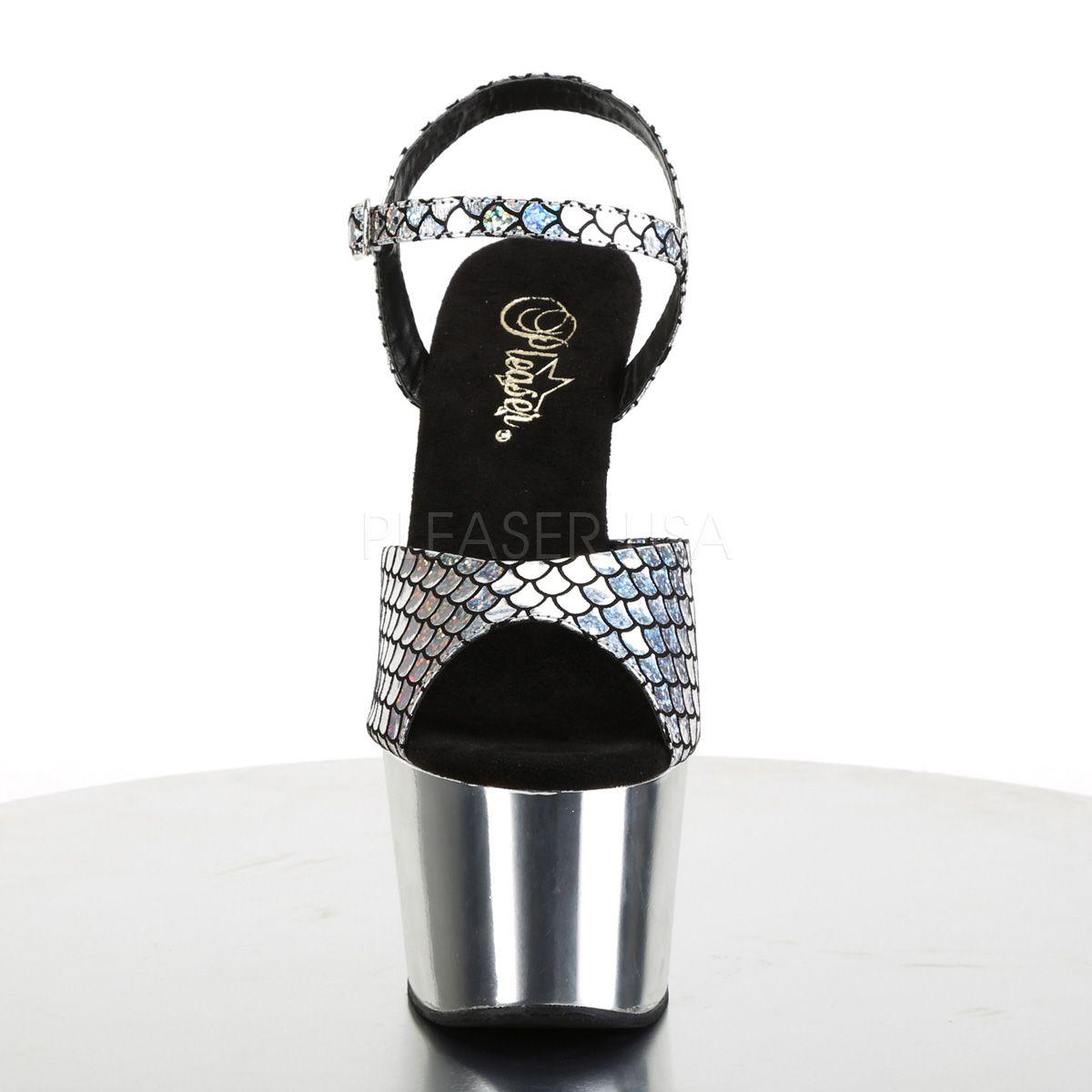 Sandalias Exóticas de Plataforma Decoradas con Escamas Holográficas