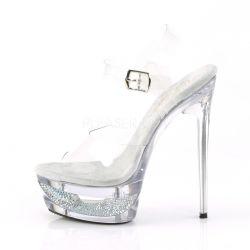 Lujosas sandalias de plataforma con pedrería brillante y tacón de aguja