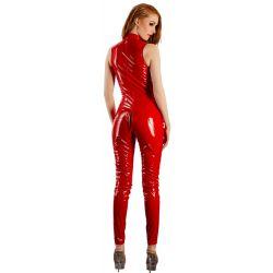 Mono catsuit de vinilo rojo brillante ajustado y muy excitante a la vista