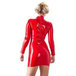 Te sentará como un guante. Mini vestido de látex rojo muy ajustado