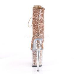 Botines de Pole Dancing Acordonados y Recubiertos de Glitter Purpurina