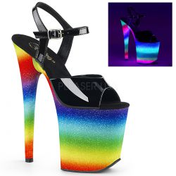 Sandalias FLAMINGO-809WR brillante a la luz UV efecto neón y purpurina