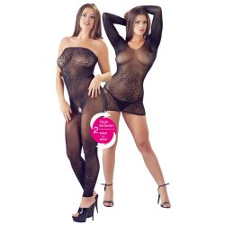 Vestido-catsuit de redecilla fina de doble función en 1