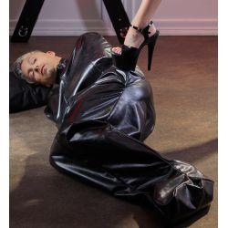 Saco bondage imitación de cuero con cremallera frontal para juegos fetish