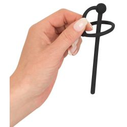 Plug para uretra en silicona con bola de tapón y anillo para glande
