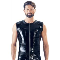 Camiseta motorista para hombres en vinilo, efecto acolchado con cremallera