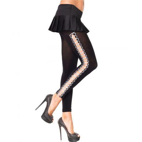 Leggings de lycra con costura en costados y cinta de plata