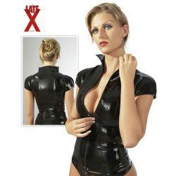 Camisa fabricada de látex con cierre frontal de cremallera