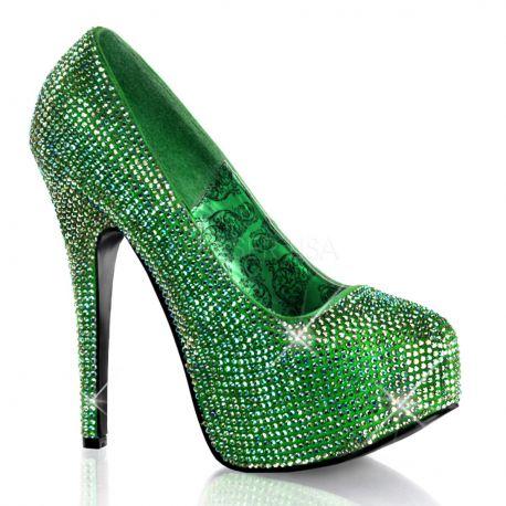 Zapatos Bordello con plataforma y recubiertos de pedrería brillante