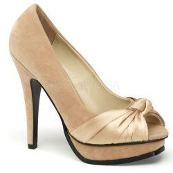 Espectacular zapato linea retro con adorno frontal en satén