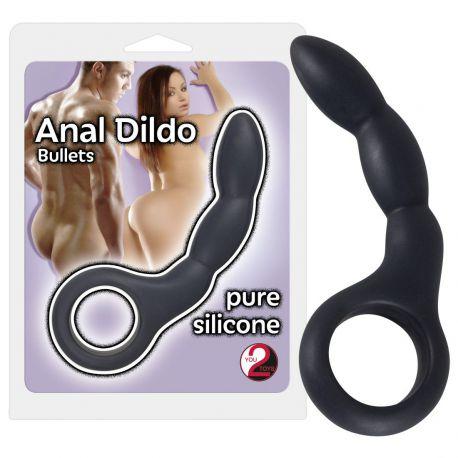 Consolador anal curvo con estructura de bola estimulación y anilla