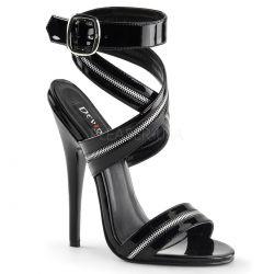 Sandalia con tiras de cremallera atada al tobillo