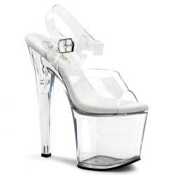 Sandalia transparente atada al tobillo