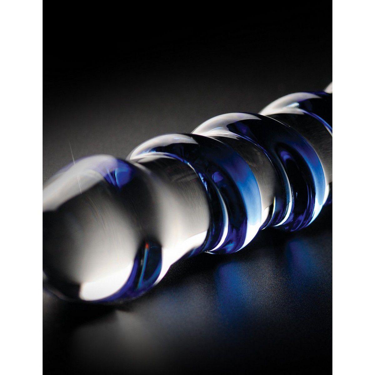 Consolador de vidrio con espiral en azul No. 5