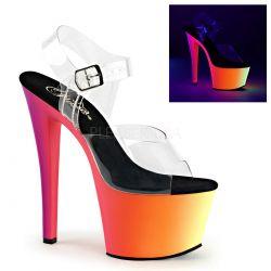 Sandalias con plataforma multicolor reactivos a luz neón discotecas