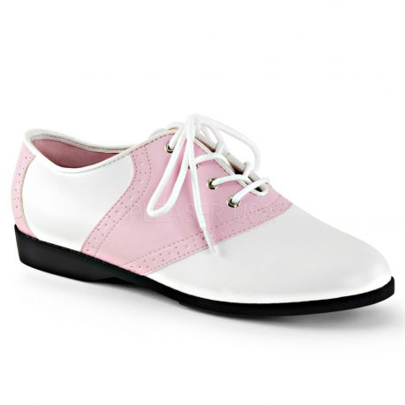 Zapatos bajos de cuero sintético en dos tonos blanco-rosa acordonados