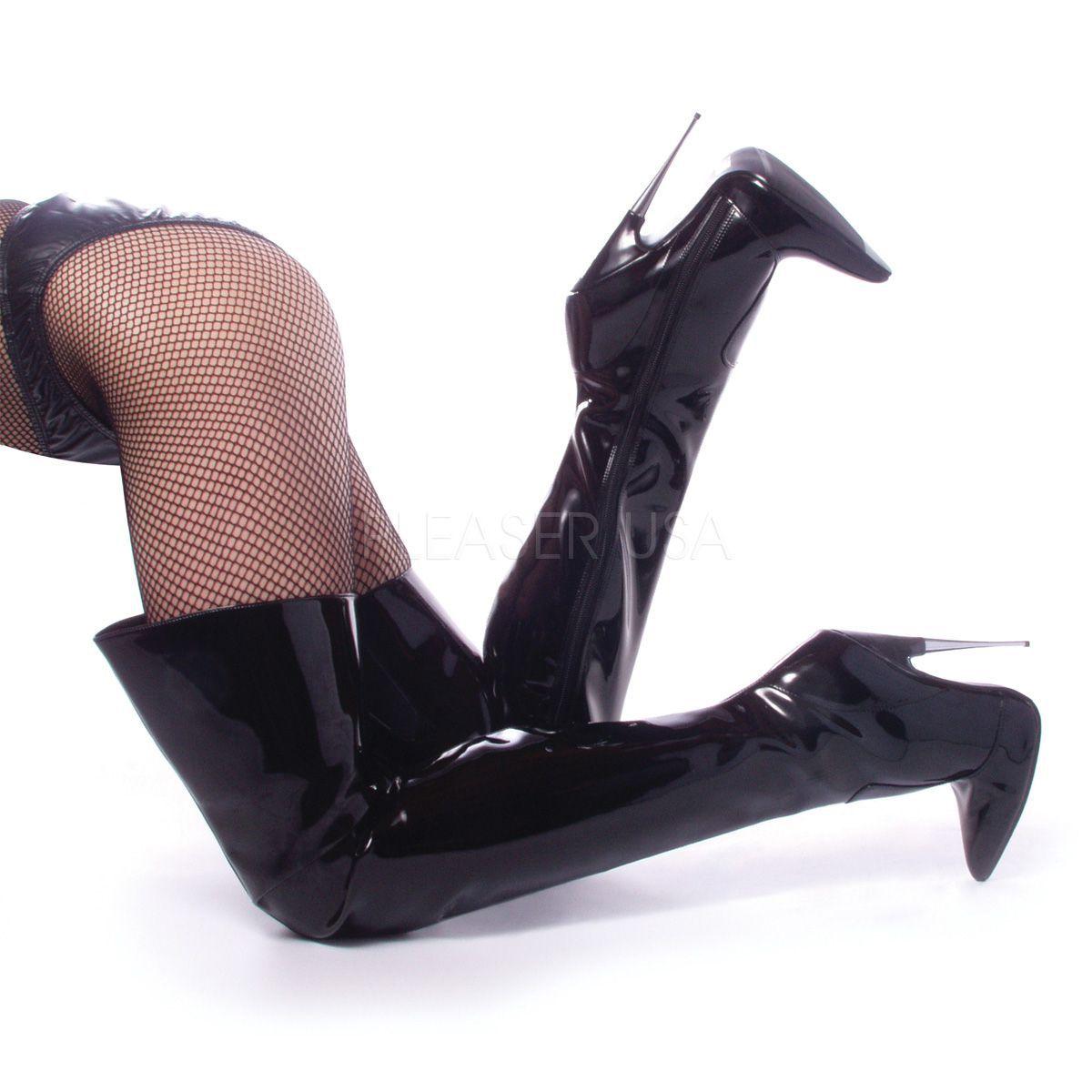 Botas altas fetish de dóminas tacón de aguja metálico de talla 35 a 46