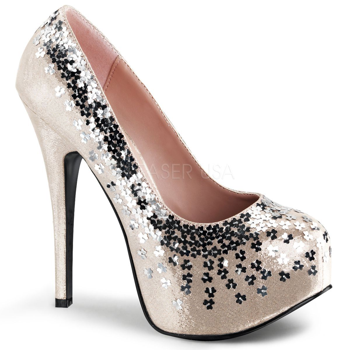 Originales zapatos Bordello de Pleaser decorados con lentejuelas flor