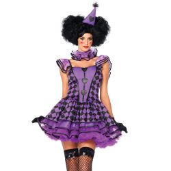 Leg Avenue disfraz sexy de mujer de payaso parisiense de 3 piezas