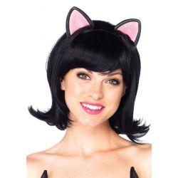 Peluca de corte pequeño y pelo corto de aires retro con orejitas de gatita
