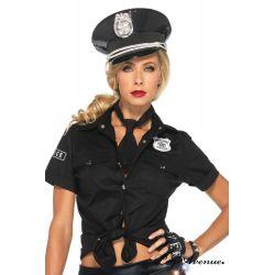 Kit de policía americano con camisa negra y corbata