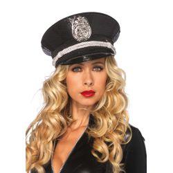Lujosa gorra de policia recubierta de lentejuelas