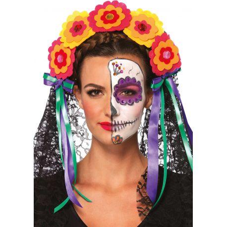 Leg Avenue diadema con decoración floral del día de los muertos
