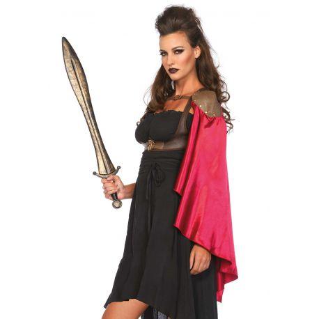 Leg Avenue arnes de guerrera con capa roja de satén sobre un hombro