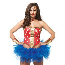 Leg Avenue Conjunto 4 piezas de super heroina americana de las estrellas