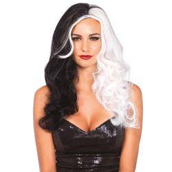 Leg Avenue peluca de Cruela de pelo largo sintético en dos tonos