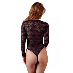 Body erótico en tejido brillante y encaje floral con las mangas largas