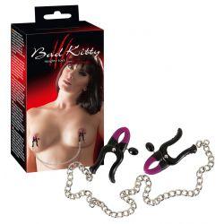 """Pinzas ajustables de silicona para pezones """"Bad Kitty"""" y cadena metálica"""