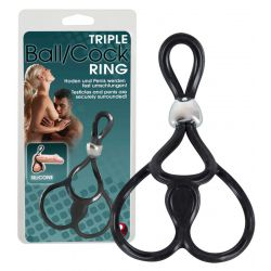 Anillo ajustable para el pene con doble anillo para testículos