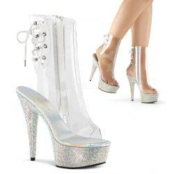 Lujosos botines de plataforma cubierta de strass y caña transparente