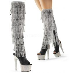 Lujosos botas simil cuero y plataforma de strass con 8 capas de flecos