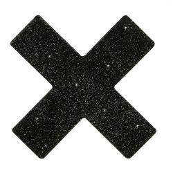 Cubre pezones en forma de cruz negra brillante