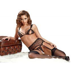 ¡Sensual y refinado! lencería 3 piezas Fina Abierta en tul con bordados