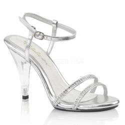 Sandalias Caress-416 Competición Fitness en plata con strass brillante
