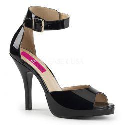 Sandalias de charol y plataforma con correa al tobillo tallas 40 al 50