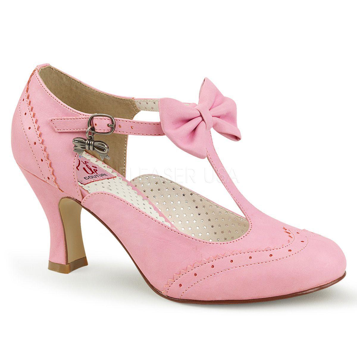 Zapatos Pin Up de polipiel abiertas y con detalle de lazo al frente